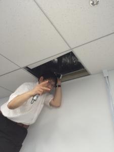 天井裏を確認する津村先輩